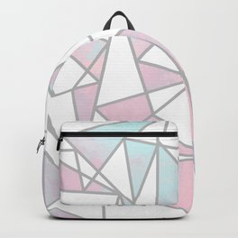 Modern white pink teal watercolor geometrical shapes Backpack