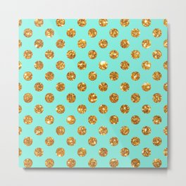 Chic Gold Glitter Polka Dots Pattern On Turquoise Metal Print