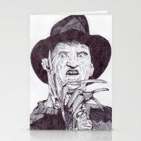 freddy krueger Stationery Cards featuring krueger by DeMoose_Art