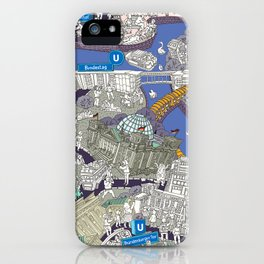 Illustrated map of Berlin-Mitte. Blue iPhone Case