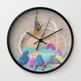 Colorful Birds & eggs Wall Clock