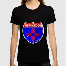 New Mexico Flag Icons As Interstate Sign T-shirt