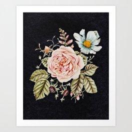 Rose and Foxglove Moody Watercolor Art Print