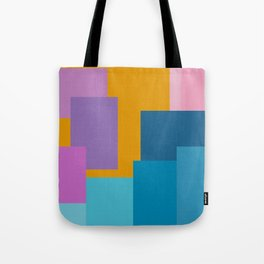 Happy Color Block Geometrics in Yellow, Blue, Purple, and Pink Tote Bag