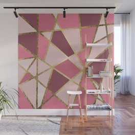 Girly Chic Pink & Burgundy Geo Gold Triangles Wall Mural