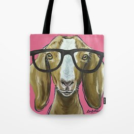 Goat with Glasses, Pink Goat Painting, Farm Animal Tote Bag
