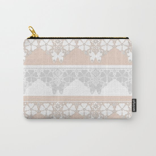 Peach-colored lace . Carry-All Pouch