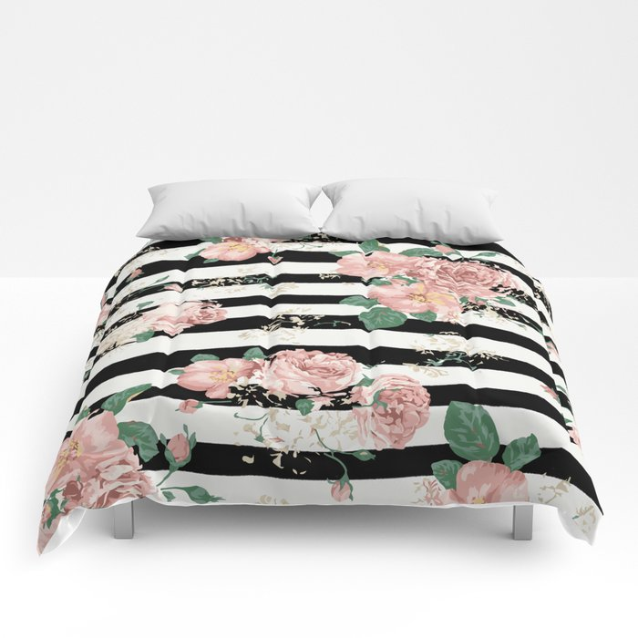 Vintage Floral Roses Black And White Stripes Comforters By