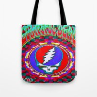 grateful dead Tote Bags featuring Grateful Dead #10 Optical Illusion Psychedelic Design by CAP Artwork & Design