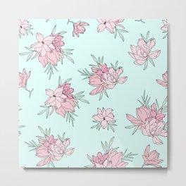 Pink Fields Pattern Metal Print