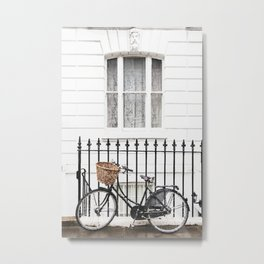 House and bicycle Metal Print