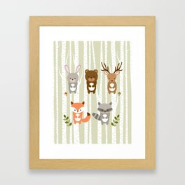Cute Woodland Forest Animals Framed Art Print