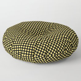 Black and Primrose Yellow Polka Dots Floor Pillow