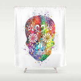 Sugar Skull Watercolor Print Wall Poster Home Decor Shower Curtain