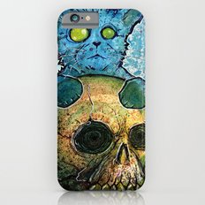 Blue Cat on a Skull Slim Case iPhone 6s