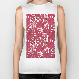 Modern tropical bright pink cheese leaves floral Biker Tank