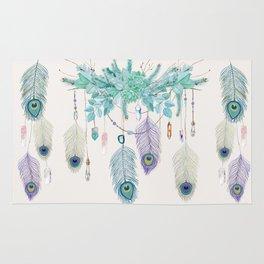 Peacock And Eucalyptus Crystal Spirit Gazer Rug