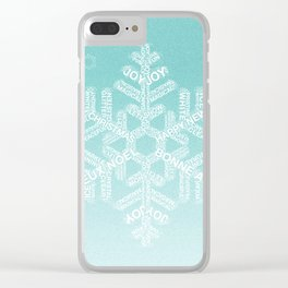Typographic Snowfake Greetings - Ombre Teal Clear iPhone Case