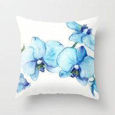 Blue Orchids - Watercolor Throw Pillow