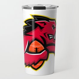 Wild Boar American Football Mascot Travel Mug