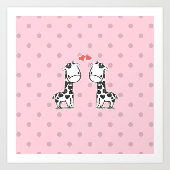 Love Giraffes (Valentine's Day Gifts / Valentine Day Gift) Art Print