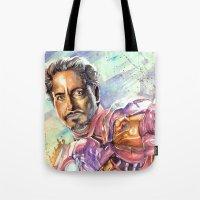 tony stark Tote Bags featuring Tony Stark by Trenita