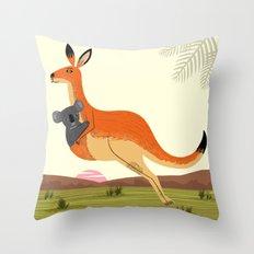 The Kangaroo and The Koala Throw Pillow