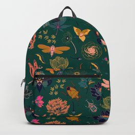 Bold insect and flower repeat pattern Backpack