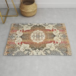 Botanical Embroidery I // Flowery Colorful Red Blue Green Yellow Tan Ornate Accent Rug Pattern Rug