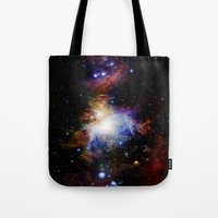 nebula Tote Bags featuring Orion NebulA Colorful Full Image by 2sweet4words Designs