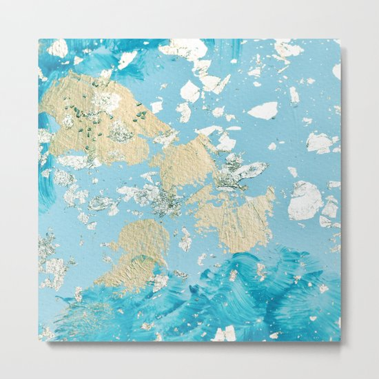 Gold Abstract Modern Painting Metal Print