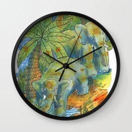 elephants in africa Wall Clock