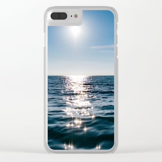Sea Blue Sky sun Clear iPhone Case