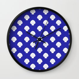 Seashells (White & Navy Blue Pattern) Wall Clock