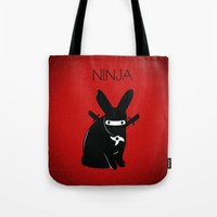 ninja Tote Bags featuring NINJA by RAGING BUNNIES