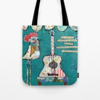 willy wonka Tote Bags featuring Bird with guitar, willy wonka quote, mixed media, turquoise, whimsical by sunshine girl designs