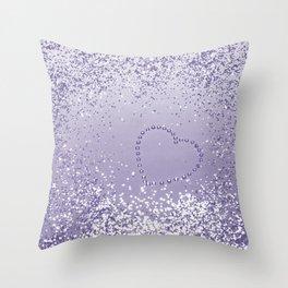 Sparkling ULTRA VIOLET Lady Glitter Heart #1 #decor #art #society6 Throw Pillow