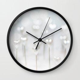 White hearts Wall Clock