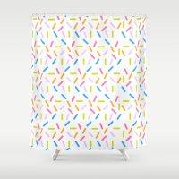 sprinkles Shower Curtains featuring Sprinkles by Vera Mota