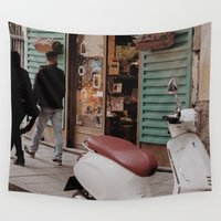 vespa Wall Tapestries featuring Vespa by inesmarinho