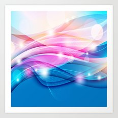Modern Pink and Blue Sparkle Streamers Art Print