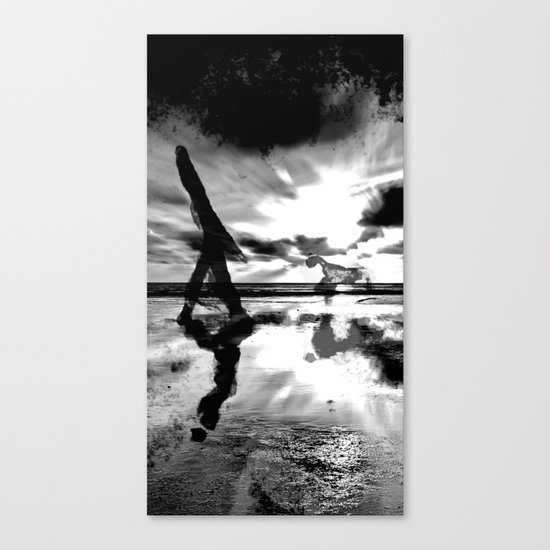 A walk with the dog - black version Canvas Print