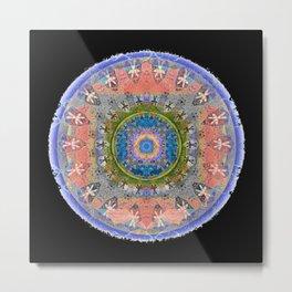 Weathered Tibetan African Merge Mandala for Ancestor Visits Metal Print
