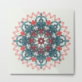 Coral & Teal Tangle Medallion Metal Print