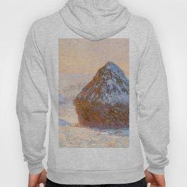 1891-Claude Monet-Wheatstacks, Snow Effect, Morning-65 x 100 Hoody