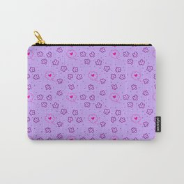 Seamless patterns with flowers and hearts on purple background Carry-All Pouch