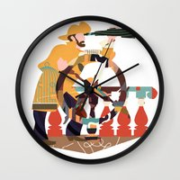 captain swan Wall Clocks featuring Captain by Design4u Studio