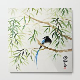 Blue Bird on The Branch Metal Print