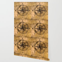 Destinations - Compass Rose and World Map Wallpaper