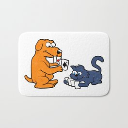 dog and cat playing cards Bath Mat